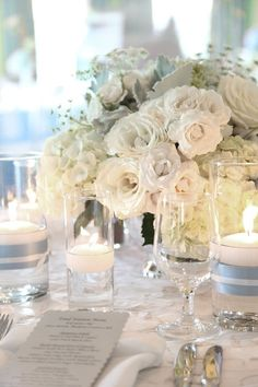 White lisianthus, white hydrangea, white roses make for a beautiful white centerpiece for white on white wedding reception. Summer Centerpieces, White Centerpiece, Wedding Centerpieces, Christmas Centerpieces, White Spray Roses, White Flowers, White Hydrangeas, Winter Wonderland Theme, Wedding Table Decorations