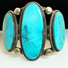 Vintage Turquoise and Sterling Silver Native American Bangle Bracelet