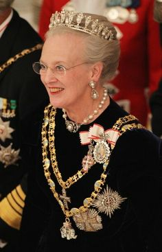 Queen margareth, HM Dronning Margrethe, wearing crown jewles, tiara, portrait, royalty, photo.