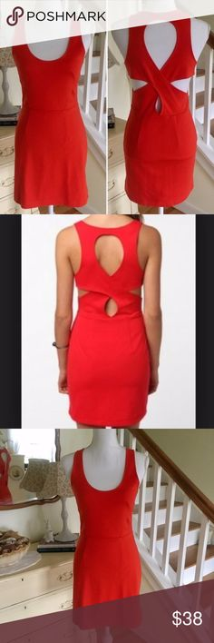 "UO/Silence + Noise Blood Red Orange Cut Out Dress This sleeveless, blood orange cutout dress from Urban Outfitter's Silence + Noise, features side and back cut outs. Size: Medium. Chest: 16"" (up to 17""). Waist: 13.75"" (up to 14.5""). Length: 33.5"". #0038 Urban Outfitters Dresses"