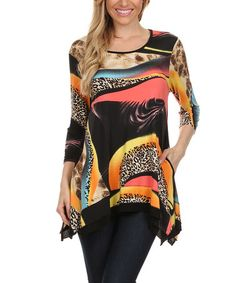 Another great find on #zulily! Coral Abstract Handkerchief Tunic by Come N See #zulilyfinds
