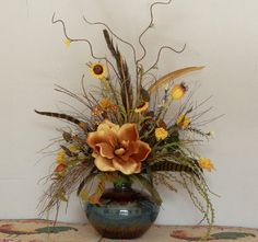 Magnolia Silk Floral Arrangement Tuscan by PataylaFloralDesigns