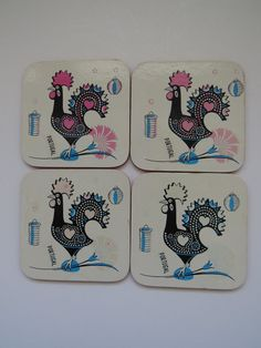 Rooster Coasters - Set of 4 - Good Luck Roosters - Pink Blue Black Portugal Vtg