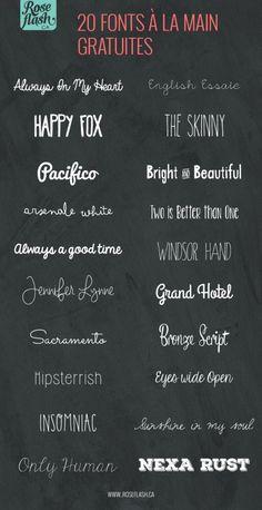 20 jolies fonts gratuites du style script à la main. #onaime