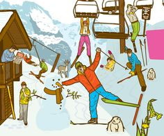 CRAZY SKI SITUATION. Big mess in a ski station.