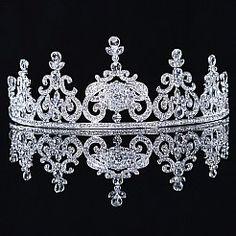 Regal Silver Tiara with Rhinestones
