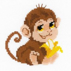 Riolis Monkey - Cross Stitch Kit. This cross stitch kit contains 10 count white Zweigart Aida fabric, Safil wool/acrylic in eight colors, one color chart, one n