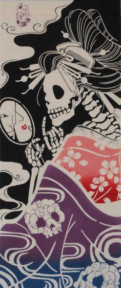 Cotton Japanese Tenugui Cloth 'Surreal Geisha'  Motif