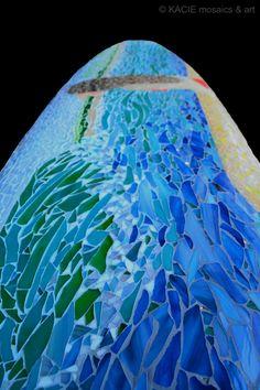 """Nalu""  Stained glass mosaic on retired surfboard.   ©KACIE mosaics & art"