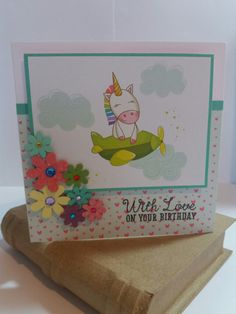 Sprinkles the unicorn birthday card made using free papers from Making Cards magazine. Handmade by Carol Cree.