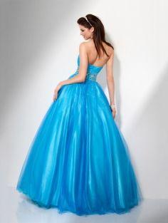 Blue Empire Long/Floor-length Empire Aqua Prom Dress PD0929