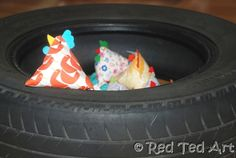 cars party game: beanbag toss into an old tire
