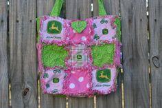 Pink and Green John Deere Rag Quilt Purse $25.00