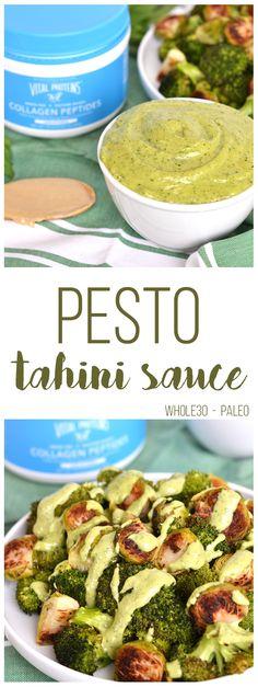 This Pesto Tahini Sauce is Whole30 & Paleo - perfect to top on veggies, meat…