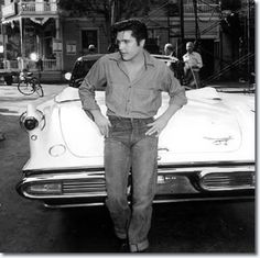 "On the set of ""Loving You"" - Elvis Presley with a 1957 Imperial Crown Convertible"