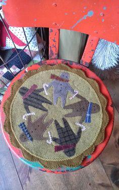 gingerbread man wool mat - pattern included