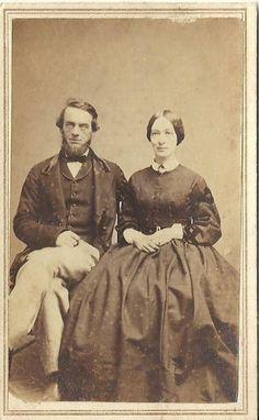CDV Photo Well Dressed Older Husband Wife in Large Hoop Dress Civil War Era | eBay