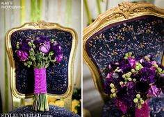 Royal purple bouquet with green raspberries