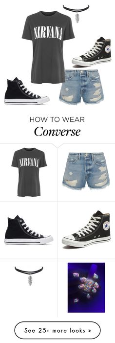 """Nirvana"" by buttons-and-pockets on Polyvore featuring Converse, Frame and Topshop"