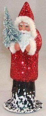 INO Schaller German Christmas Paper Mache Red Glitter Santa Candy Container | eBay