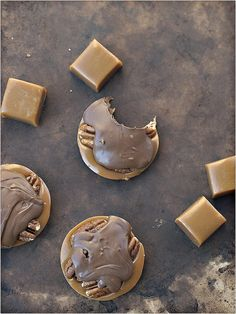 homemade turtles: just add pecans & chocolate to caramel in muffin tins!