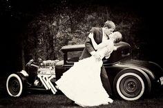 Hot Rod Wedding Photo kiss