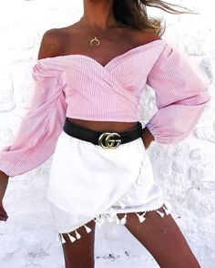 1e084d0e8c0  Summer  Outfits   Off The Shoulder Pink Angel Sleeve Top + White Skirt Edgy