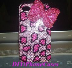 Pink Bow Phone Cases iPhone Case Bling Crystal Rhinestone iPhone 5s Case, Pink Leopard Print Bling Galaxy s4 Case, iPhone 5C cute Case Cover...
