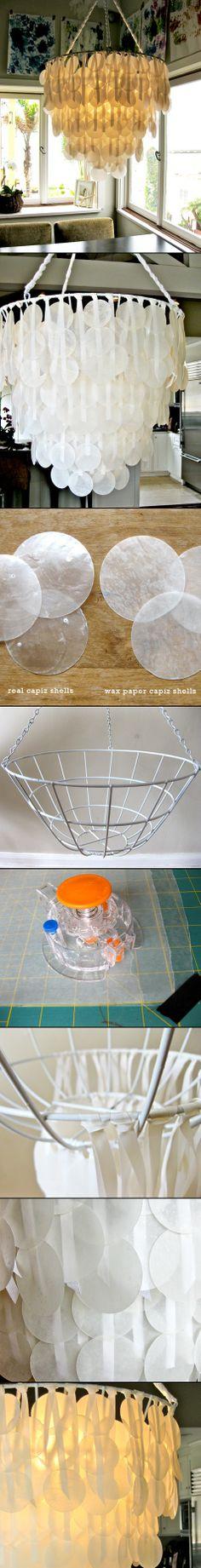 DIY IYD IDY DYI YDI: DIY PROJECT:PAPER CAPIZ SHELL CHANDELIER