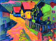 Painting Exhibition: Vincent van Gogh and Expressionism : Wassily Kandinsky Murnau Street with Women, Oil on cardboard, 71 x 97 cm. Private collection, Courtesy Neue Galerie New York. Art Kandinsky, Wassily Kandinsky Paintings, Van Gogh Pinturas, Art Design, Vincent Van Gogh, Matisse, Painting Inspiration, Art History, Contemporary Art