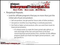 AFFILIATE BUSINESS, Affiliate Marketing, FREE VIDEO TUTORIALS, Jeff Johnson, PERPETUAL PAYOUTS