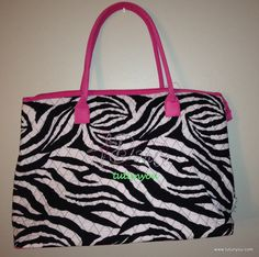 Zebra and Pink Tote Bag with Dance in rhinestones by Tutunyou