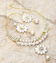 White Embellished Necklace Set=Goyal Jewellers $ 50