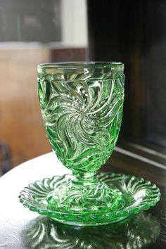 Green pressed glass.
