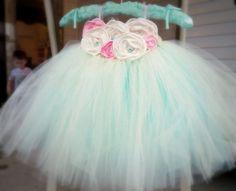 baby tutu dress Shabby Chic Aqua and Pink by pinkgiraffebowtique, $79.95