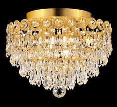 Century Prism Gold Three-Light Flush Mount with Royal Cut Clear Crystal Crystal Ceiling Light, Crystal Pendant Lighting, Flush Ceiling Lights, Ceiling Lighting, Under The Lights, Candelabra Bulbs, Lighting Store, Cool Diy Projects, Light Art