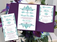 peacock pocketfold wedding invitation template set teal eggplant