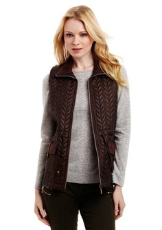 CASUAL IDENTITY Anorak Vest with Faux Leather Trim