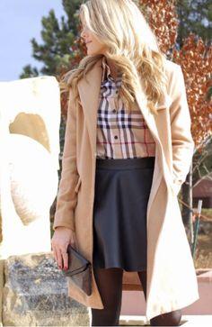Plaid + leather skater skirt.