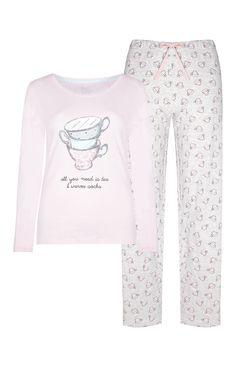 Pijama rosa con estampado de tazas de té