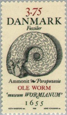 Stamp: Ammonite (Denmark) (Fossiles) Mi:DK 1195,Sn:DK 1106,Yt:DK 1198,AFA:DK 1191
