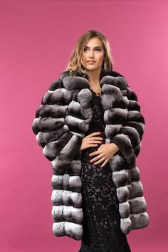 Black velvet chinchilla fur coat / Purple sky / Collection - Vellvet