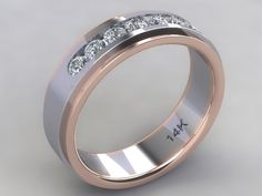 Custom Hand Crafted 14k White Gold & Rose Gold Rail Two Tone Men's Channel Set Diamond Wedding Band With (7) 2.9mm Natural Round Diamonds.