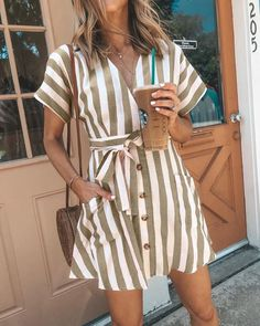 Women Summer Striped V Neck Dress Casual Button Short Sleeve Loose Dress Fashion Women Clothes Mini Dresses - Women dresses - Summer Dress Outfits Cheap Summer Dresses, Next Dresses, Stylish Dresses, Casual Dresses, Summer Outfits, Mini Dresses, Dress Summer, Flower Dresses, Summer Jumpsuit