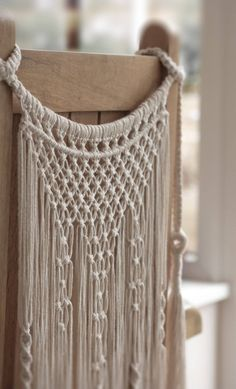 Handmade Macrame Chair Back Wedding Decor Boho Chic Wall Art Aztec Bohemian Crem. - Handmade Macrame Chair Back Wedding Decor Boho Chic Wall Art Aztec Bohemian Creme Cotton Organic Ya - Bodas Boho Chic, Macrame Chairs, Ideias Diy, Tapestry Weaving, Tapestry Crochet, Tapestry Wall, Macrame Design, Macrame Projects, Wedding Chairs
