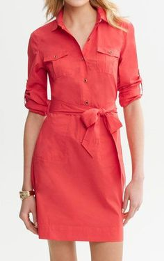 The bow on this menswear-inspired shirtdress creates perfect curves for every body type!