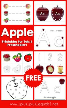 Free Letter A is for Apple Printables for Tots