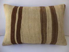 "Kilim Pillow,24""x16"" inch Handwoven Brown White Undyed Turkish Kilim Rug Pillow Cover,Sofa Decor Kilim Rug Pillow."