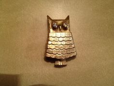 Vintage Retro Mid Century Owl Brooch Pin Brooches Pins Perfume Holder   #Unknown