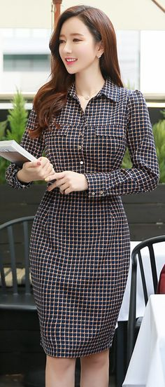 StyleOnme_Check Print Collared Shirt Style Dress #check #collared #dress #feminine #koreanfashion #falltrend #chic #kstyle